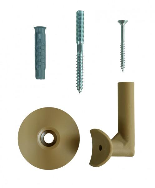 Handlaufhalter - Set für runde Holzhandläufe - 5 Stück mit Zubehör
